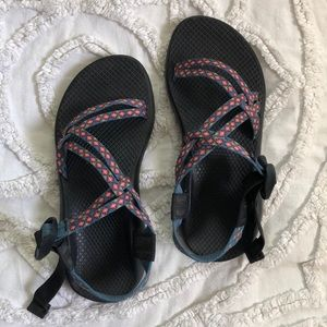blue and red chacos